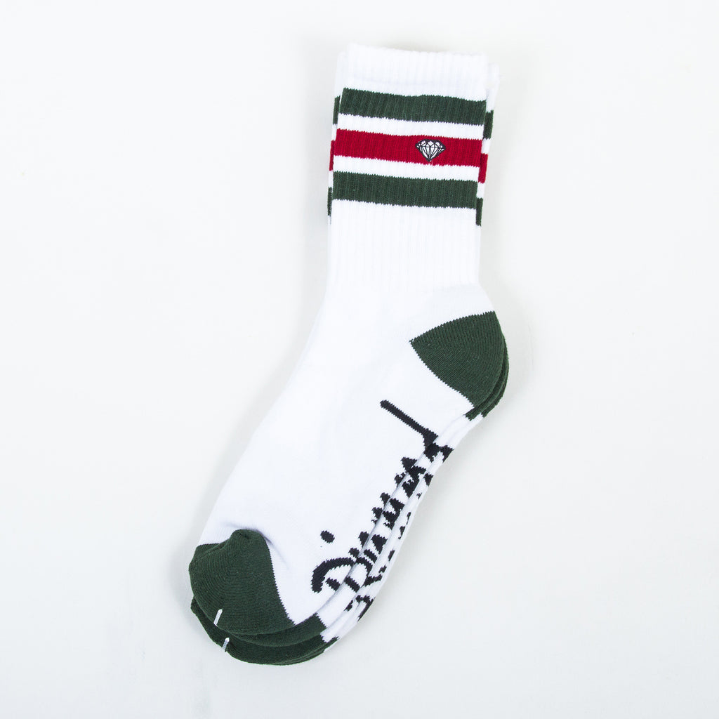 Diamond 3 Stripe High Cut - White/Green - Men's Socks (3 Pairs)