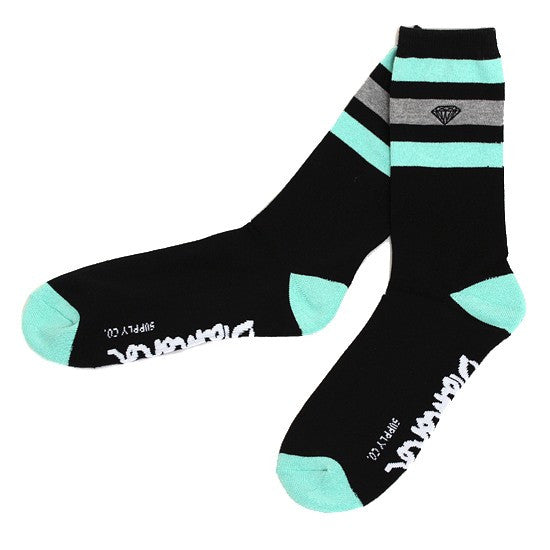 Diamond 3 Stripe High Cut - Black/Diamond Blue - Men's Socks (3 Pairs)