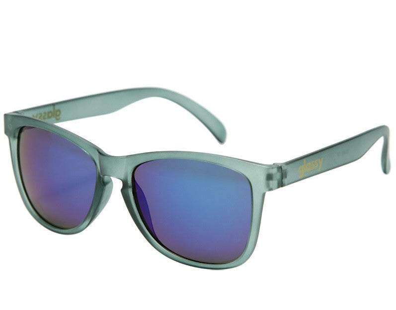 Glassy Deric - Matte Grey/Blue Mirror - Sunglasses