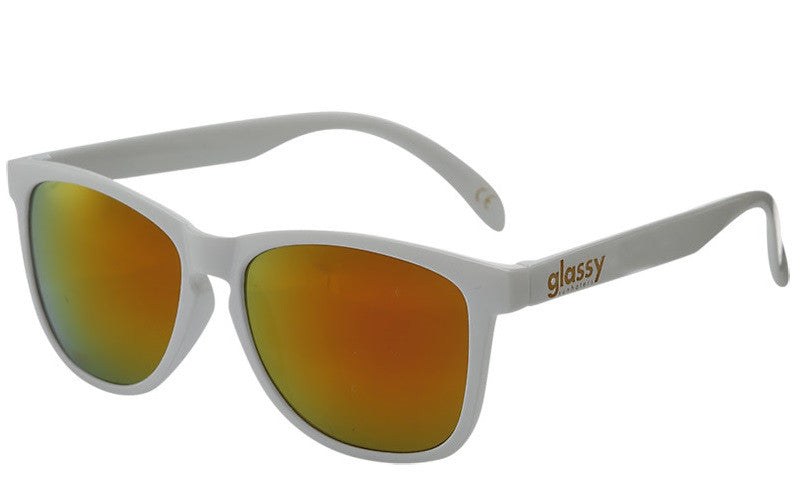 Glassy Deric - White/Red Mirror - Sunglasses