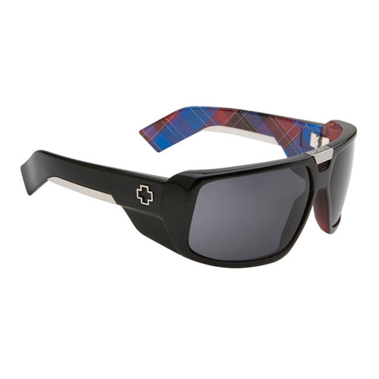 Spy Touring - Matte Black Plaid Frame - Grey / Black Mirror Lens - Sunglasses
