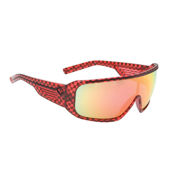 Spy Tron Men's - Translucent Red / Black Checks Frame - Grey / Red Spectra Lens - Sunglasses