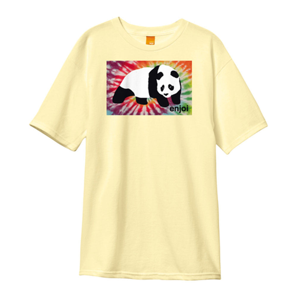 Enjoi Panda Tie Dye Block S/S - Cream - Men's T-Shirt