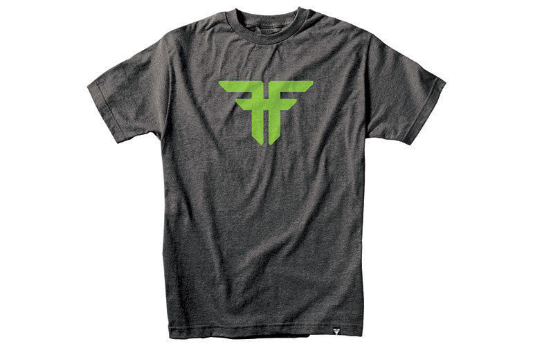 Fallen Trademark S/S - Heather Charcoal/Psych Green - Men's T-Shirt