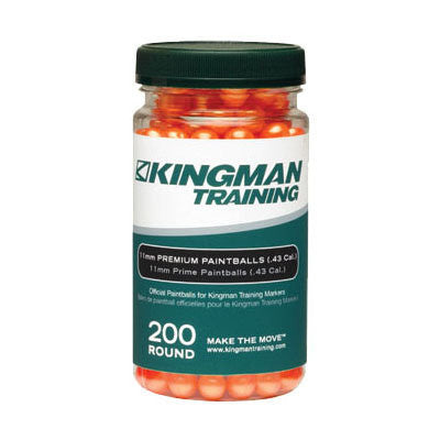 Kingman Training 11mm Premium Paintballs - 200 Round Bottle - Orange
