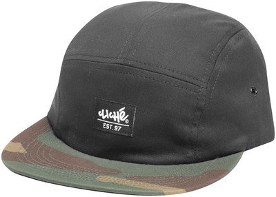 Cliche 5 Panel Chuck Cap Strapback - Black/Camo - Men's Hat