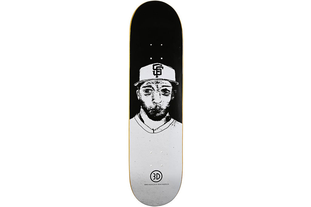 3D Anderson Portrait By Brian - Black/White - 8.5 - Skateboard Deck