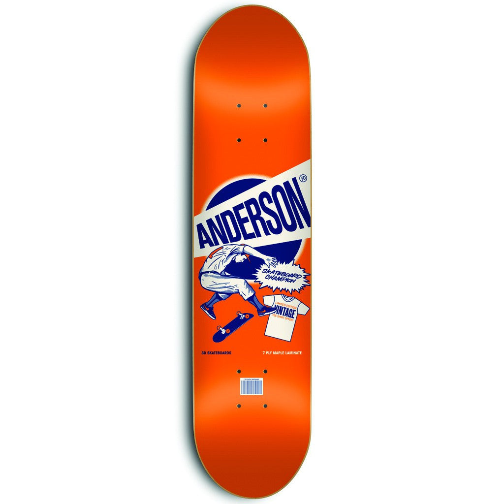 3D Anderson Wheaties - Orange - 8.12 - Skateboard Deck