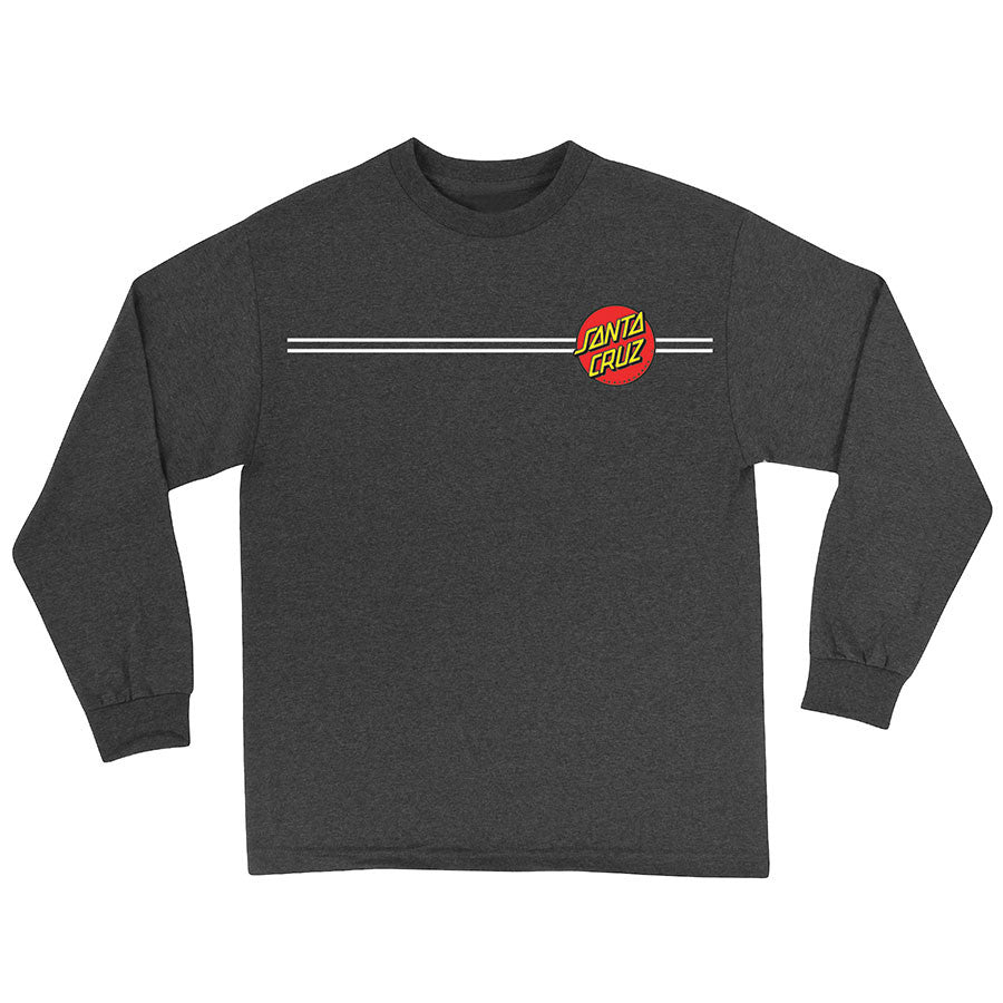 Santa Cruz Classic Dot Regular L/S - Charcoal Heather - Men's T-Shirt