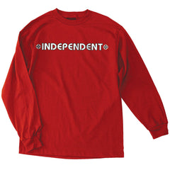 Independent Bar/Cross Regular L/S - Red - Mens T-Shirt