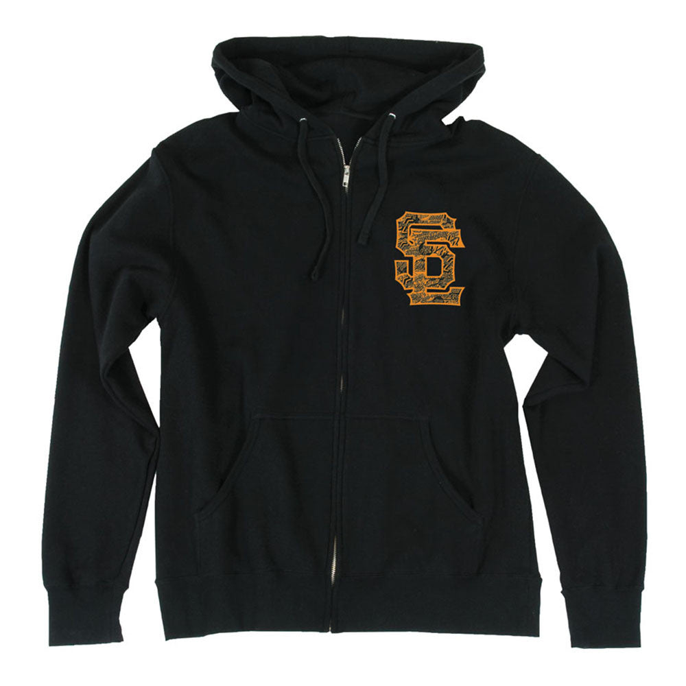 Santa Cruz SC Block Hooded Zip L/S - Black - Mens Sweatshirt