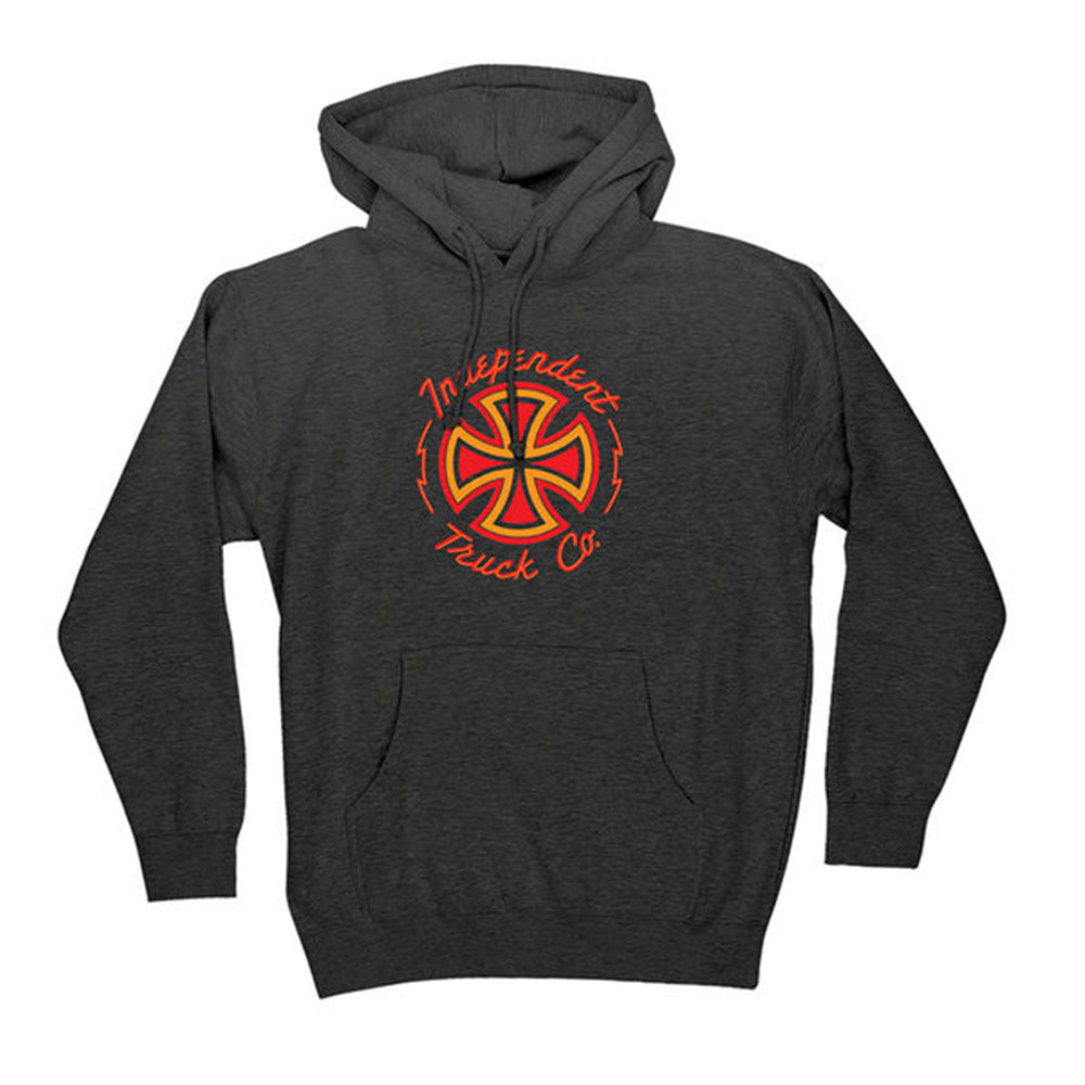 Independent Voltage Pullover Hooded L/S - Charcoal Heather - Men's Sweatshirt