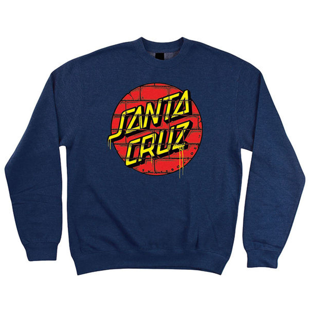 Santa Cruz Tagged Dot Crew Neck L/S - Navy Heather - Men's Sweatshirt