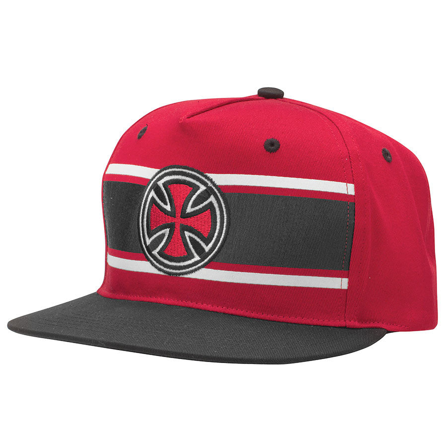 Independent Strip Cross Adjustable Snapback Twill - Dark Red - Men's Hat