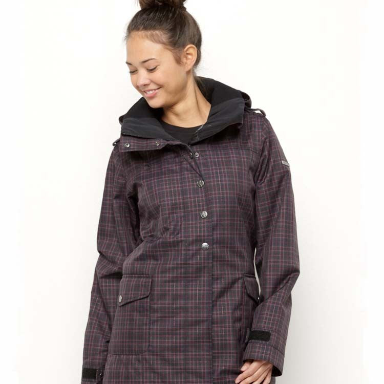 Roxy Illusion Shell - Black Plaid - Snowboarding Jacket