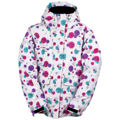 Ride Malibu - Diamond Print White - Girls Youth Snowboarding Jacket