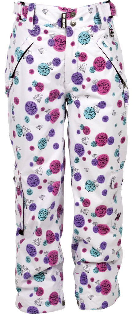 Ride Dart - Girl's Youth Snowboarding Pants - Diamond Print White