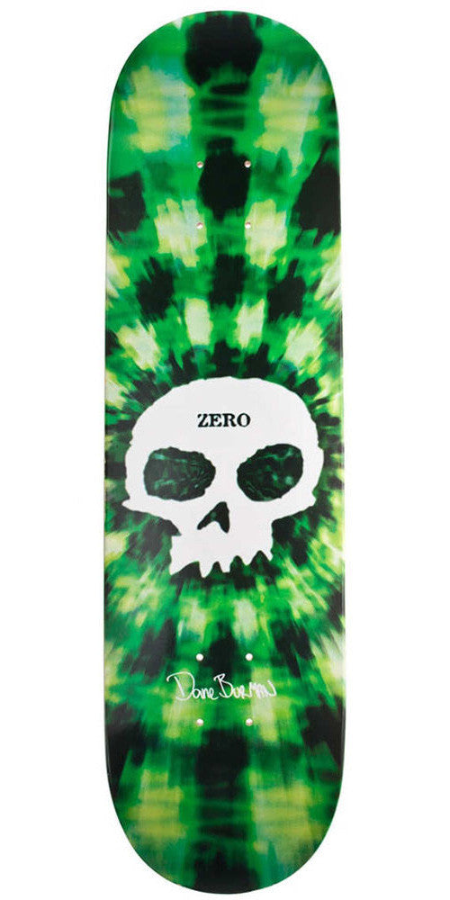 Zero Dane Burman Tie Dye Signature Skull R7 - Green - 8.13 - Skateboard Deck