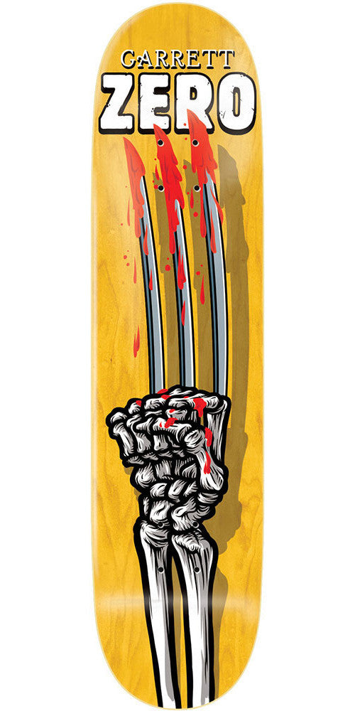 Zero Garrett Hill Skeleton Hands R7 - Yellow - 8.0 - Skateboard Deck