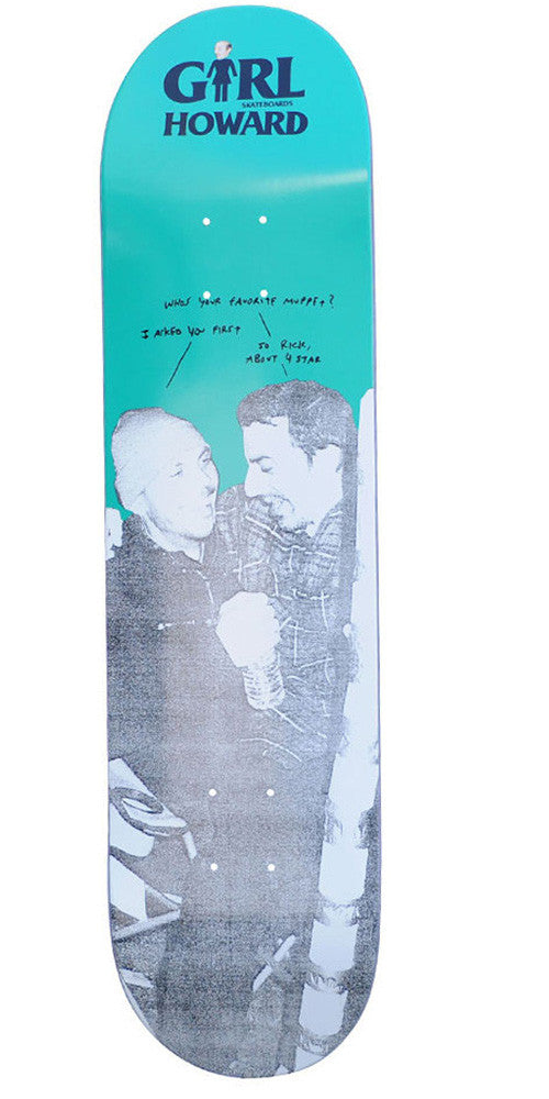Girl Howards Beauty & The Beast - Teal/White - 7.8125 - Skateboard Deck