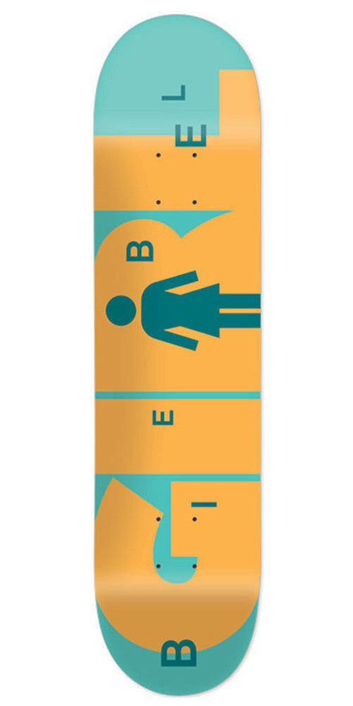Girl Biebel Advertype - Teal/Orange - 8.0in x 31.875in - Skateboard Deck