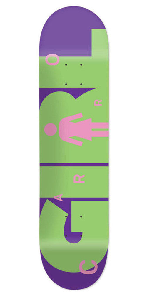 Girl Carroll Advertype - Purple/Green - 8.125in x 31.625in - Skateboard Deck