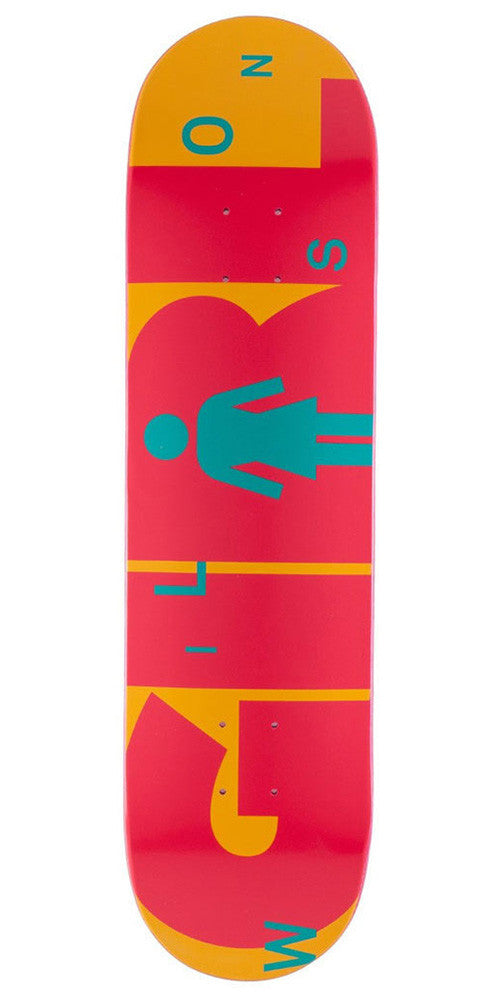 Girl Wilson Advertype - Orange/Pink - 7.875in x 31.25in - Skateboard Deck