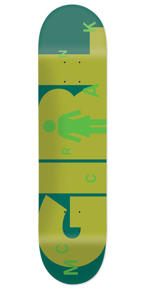 Girl McCrank Advertype - Green/Olive - 8.375in x 31.75in - Skateboard Deck