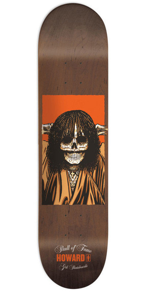 Girl Howard Skull Of Fame - Brown - 8.375in x 31.75in - Skateboard Deck