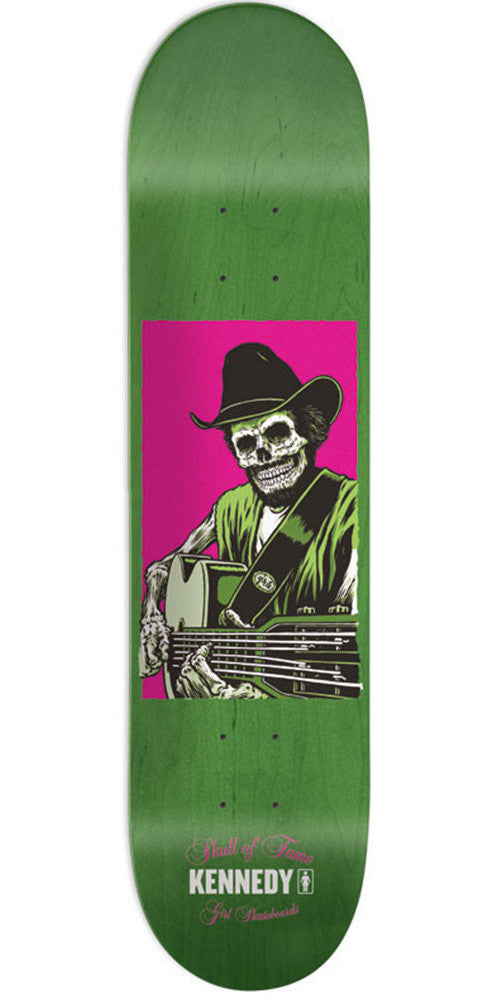 Girl Kennedy Skull Of Fame - Green - 8.0in x 31.5in - Skateboard Deck