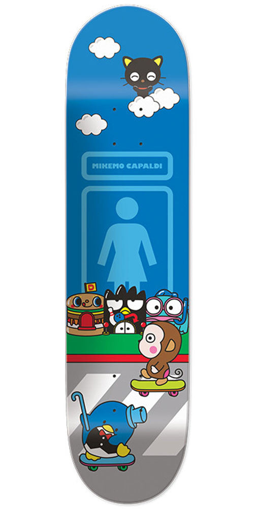Girl Mike Mo Hello Sanrio - Blue - 7.875in x 31.25in - Skateboard Deck