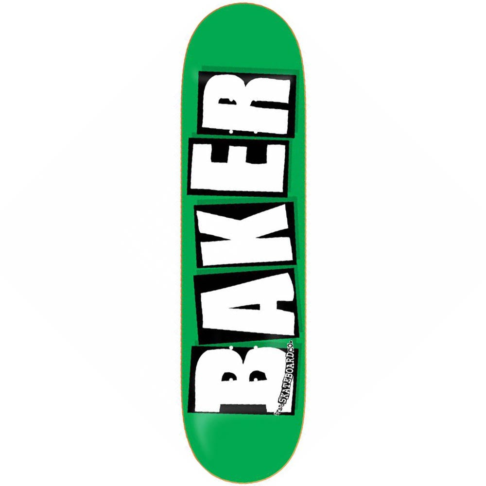 Baker Logo - 8.0in x 31.75in - Fluoro Green/White - Skateboard Deck