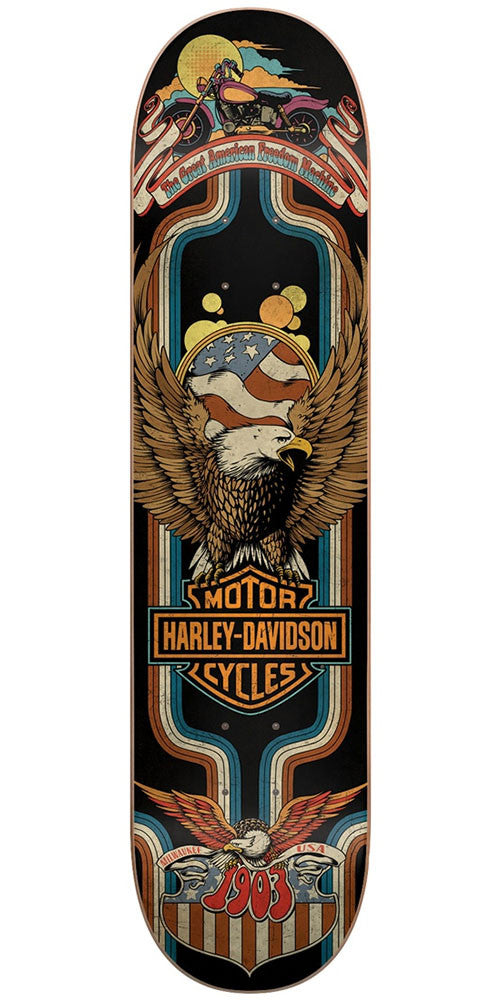 DarkStar Harley Davidson Eagle - Black - 8.0in - Skateboard Deck