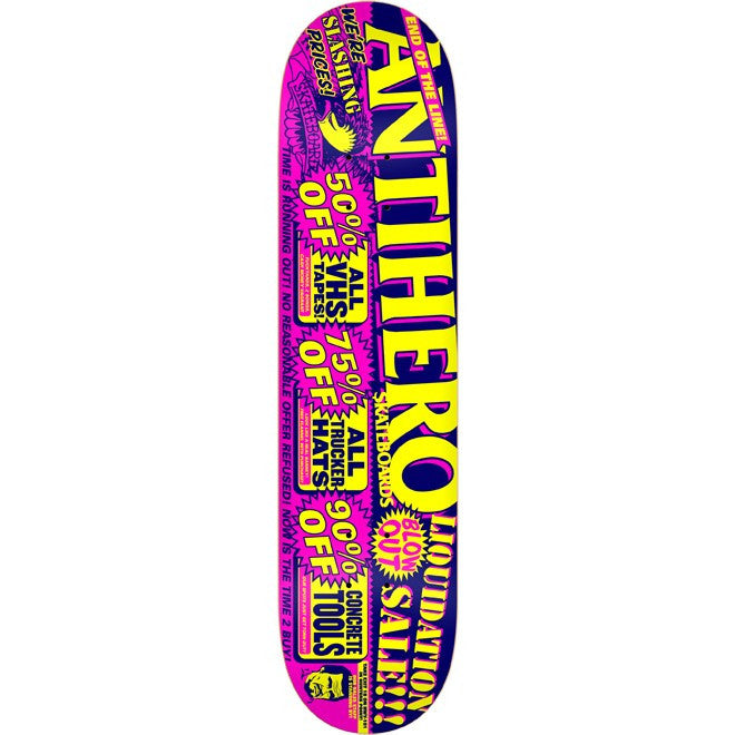 Anti-Hero Liquidation PP Small - Pink/Navy/Yellow - 7.75 - Skateboard Deck