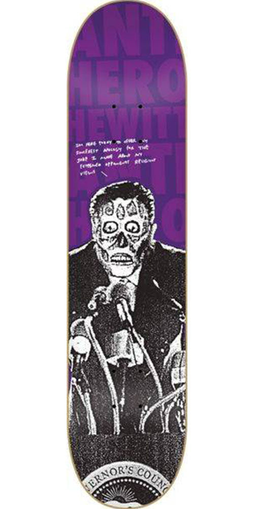 Anti-Hero Hewitt Alive - Purple/Black - 8.38in x 32.25in - Skateboard Deck