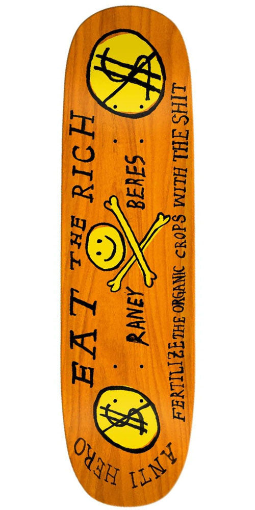Anti-Hero Raney Beres Eat The Rich - Orange - 8.6in x 32in - Skateboard Deck