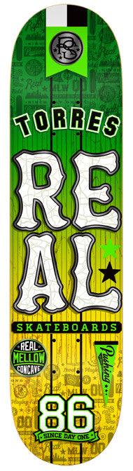 Real Torres Mellow - Green/Yellow - 7.8125in - Skateboard Deck