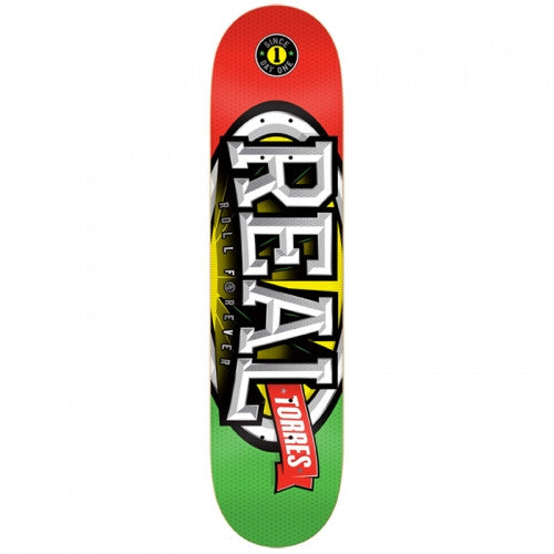 Real Torres Stacked Oval - Red/Green - 8.38 - Skateboard Deck