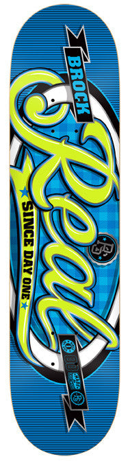Real Brock Pro Script Oval - Blue - 8.38 - Skateboard Deck
