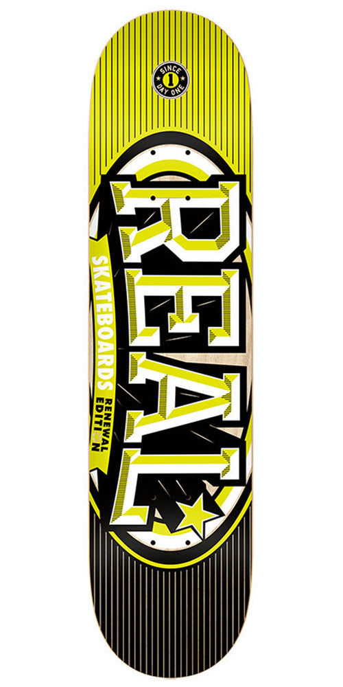 Real Renewal Stacked SM - Yellow - 7.56 x 31.38 - Skateboard Deck