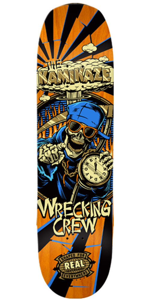 Real Wrecking Crew Kamikaze 2 - Orange - 8.5in x 32.4in - Skateboard Deck