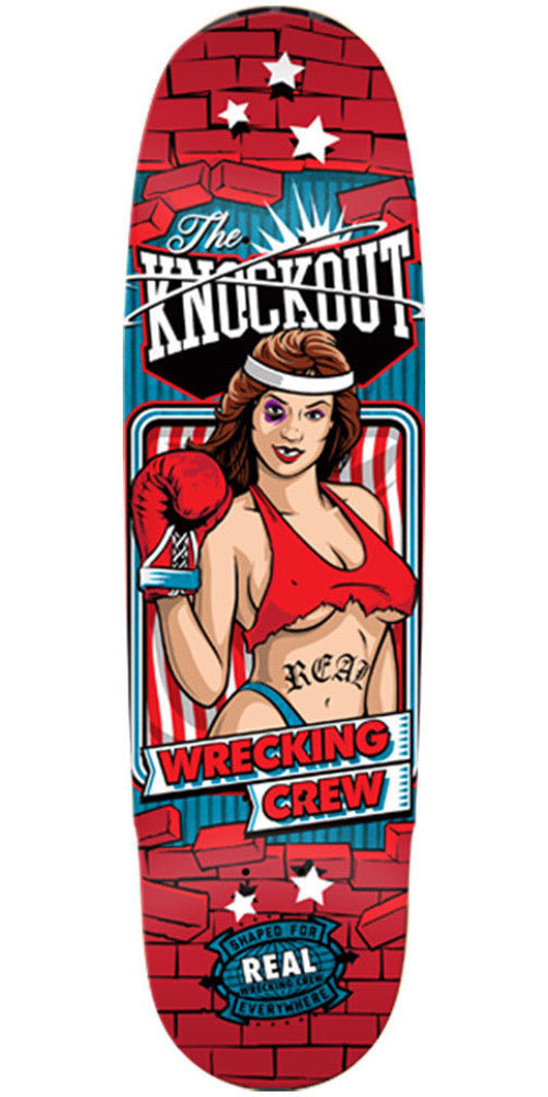 Real Wrecking Crew Knockout 2 - Red - 9.0in x 32.0in - Skateboard Deck