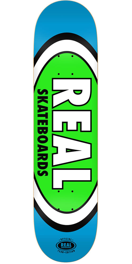Real Team Oval 3 Mini - Blue/Green - 7.21in x 29.3in - Skateboard Deck