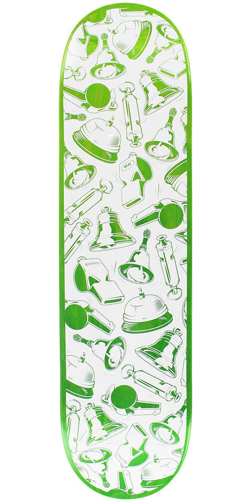 Real Dennis Busenitz Bells and Whistles - White/Green - 8.38in x 32.56in - Skateboard Deck