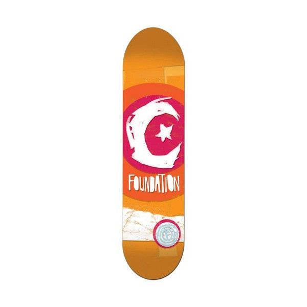 Foundation Star & Moon Party Logo - Orange - 7.5 - Skateboard Deck