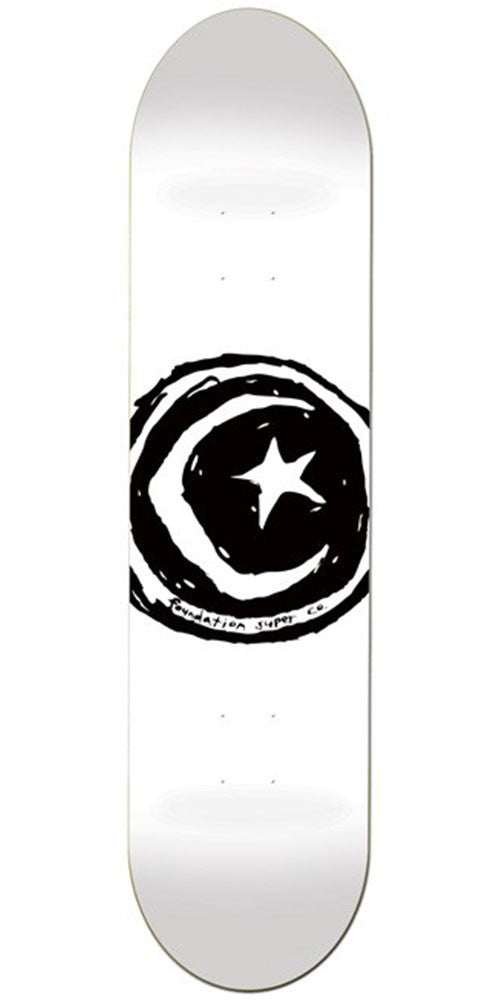 Foundation Star & Moon - White - 8.25in - Skateboard Deck