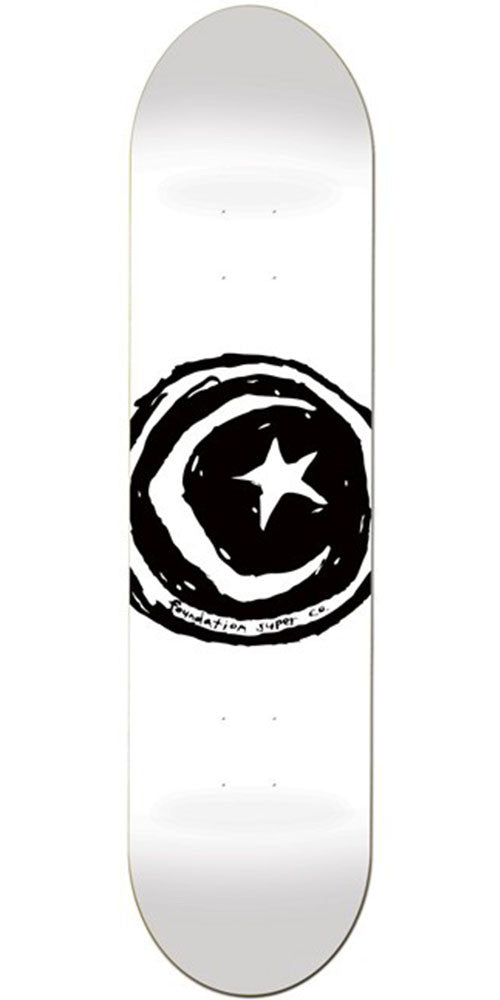 Foundation Star & Moon - White - 8.5in - Skateboard Deck