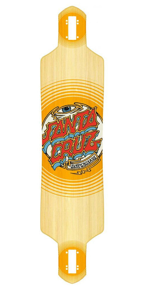 Santa Cruz Trip Dot Freeride Bamboo Drop Thru - Orange/Natural - 41in x 9.2in - Skateboard Deck