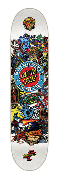 Santa Cruz Authorized Dealer Deck Clock - White/Multi - Skateboard Deck Clock