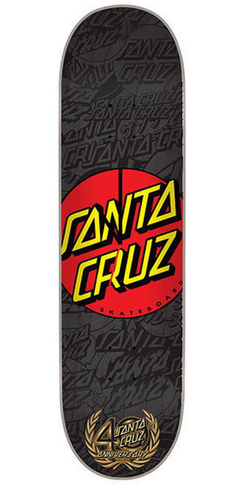 Santa Cruz 40th Anniversary Dot Deck Clock - Black - Skateboard Deck Clock